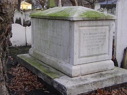 Monument to members of the Bayes and Cotton families, including Joshua Bayes (died 1746) and his son Thomas Bayes (died 1761) Bayes-Cotton Tomb at Bunhill Fields - geograph.org.uk - 702746.jpg