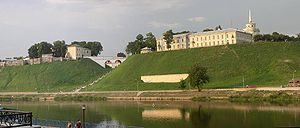 New Hrodna Castle - New Castle as seen from across the Neman River, with the Old Hrodna Castle looming in the distance.