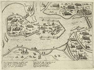 Siege of Schenckenschans (1599) - Image: Beleg van Schenkenschans door de Spanjaarden 1599
