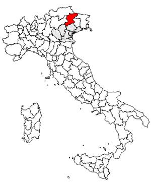 Comelico - Location of the province of Belluno