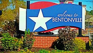 Bentonville, Arkansas - Welcome to Bentonville board put up at many entrances of the city
