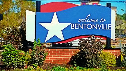 Welcome to Bentonville board put up at many entrances of the city Bentonville Welcome.jpg