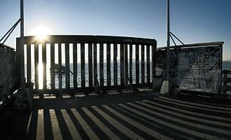 Berkeley Pier - The barrier at the end of the pier. The old defunct pier section is visible through the barrier.