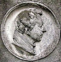 Berlin, Kreuzberg, Zossener Strasse, Friedhof I Jerusalems- und Neue Kirche, Grab August Neander, Portraitrelief.jpg