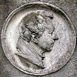 Berlin, Kreuzberg, Zossener Strasse, Friedhof I Jerusalems- und Neue Kirche, Grab August Neander, Portraitrelief