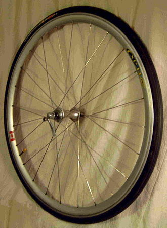 Bicycle wheel - The front wheel from a racing bicycle made using a Mavic rim
