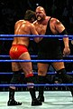 Big Show about to chokeslam JBL during a WWE house show in 2005.jpg