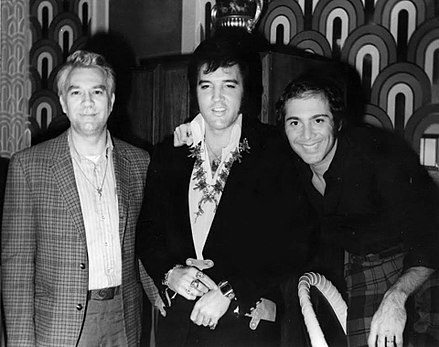 Presley with friends Bill Porter and Paul Anka backstage at the Las Vegas Hilton on August 5, 1972 Bill Elvis Paul.jpg