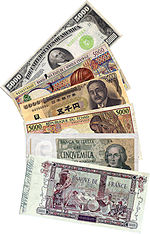 Banknotes of 5000 denomination in different currencies including Franc, Yen, Lire,and Dollar