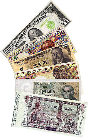 Denomination (currency) - Banknotes of 5000 denomination in different currencies including Franc, Yen, Lire, and Dollar