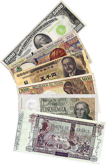 Banknotes with a face value of 5000 in different currencies. (United States dollar, CFA franc, Japanese yen, Italian lira, and French franc)