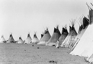 Blackfoot Confederacy - Blackfoot teepees, Glacier National Park, 1933