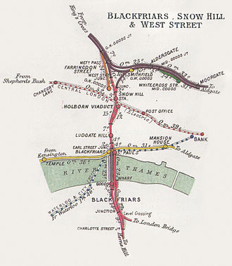 Thameslink Programme - The railway junctions at Blackfriars and Snow Hill in 1914