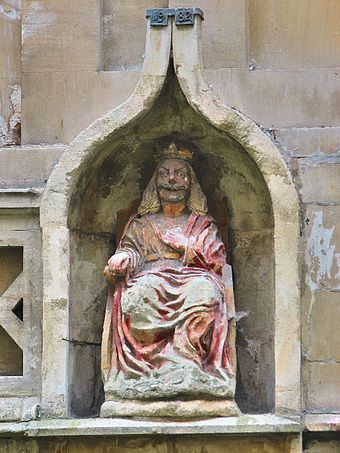 The statue of King Bladud overlooking the King's Bath carries the date of 1699, but its inclusion in earlier pictures shows that it is much older than this. Bladud Statue at Roman Baths, Bath.jpg