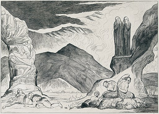 The Pit of Disease (The Falsifiers), by William Blake. Public Domain.