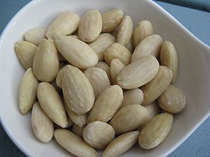 Blanching (cooking) - Blanched almonds