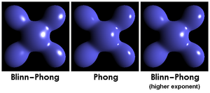 Blinn–Phong shading model - Visual comparison: Blinn–Phong highlights are larger than Phong with the same exponent, but by lowering the exponent, they can become nearly equivalent.