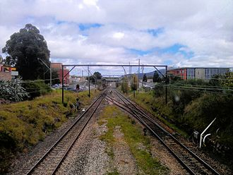 Blue Mountains Line - View immediately north of Lithgow station. This is the limit of electric services on the Blue Mountains Line.
