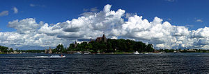 North Country (New York) - The Thousand Islands constitute an archipelago within the Saint Lawrence River. Boldt Castle, on Heart Island, is seen at center.