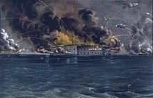 Illustration en couleur représentant le Fort Sumter bombardé.
