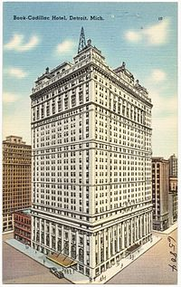 The Book Cadillac Hotel In An Old Postcard