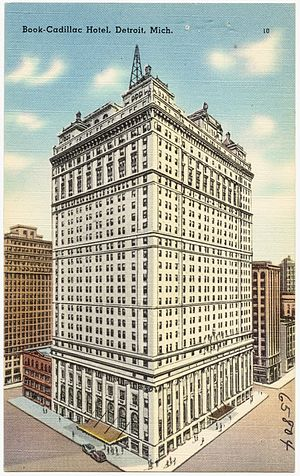 Westin Book Cadillac Hotel - The Book Cadillac Hotel in an old postcard