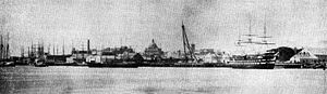 USS Ohio (1820) - Ohio as a receiving ship at Boston in the 1870s.