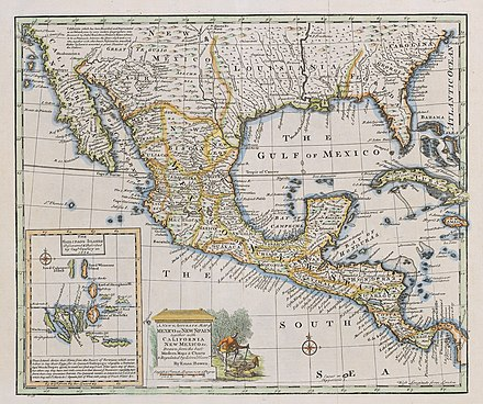 Map of New Spain in 1752 Bowen Mexico or New Spain 1752 UTA.jpg