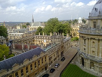 Brasenose College, Oxford - Brasenose College, viewed from St Mary's (in High Street). The entrance to Brasenose Lane is just to the right of the centre of the picture.
