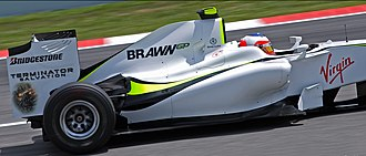 Terminator Salvation - Rubens Barrichello driving his Brawn GP Formula One car Brawn BGP 001 with Terminator Salvation sponsorship at the 2009 Spanish Grand Prix.