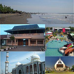 Brebes, Brebes - Sights in Brebes (clockwise from top) : Randusanga Beach, Ciblon Waterboom, Alun alun Brebes, Great Mosque of Brebes, Karangbirahi Stadium