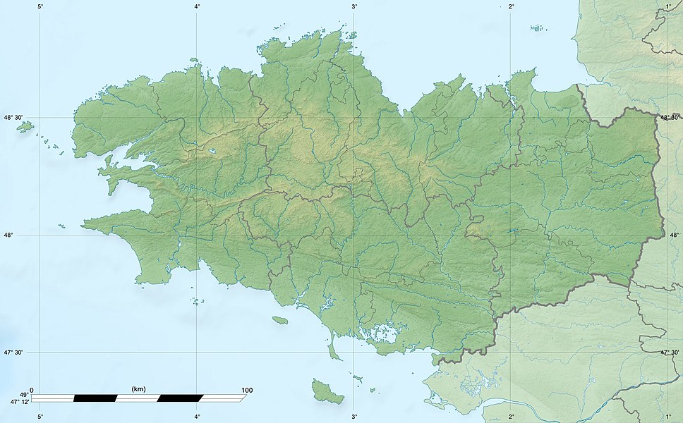 Blank physical map of the region of Bretagne, France, for geo-location purpose, with distinct boundaries for regions, departments and arrondissements.
