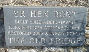 Old Bridge, Bridgend - The Old Bridge stone plaque