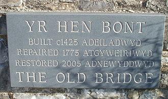 Old Bridge, Bridgend - The Old Bridge stone plaque