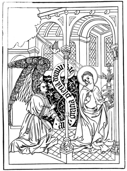 THE ANNUNCIATION The original (11½ in. by 8½ in.) is pasted inside the cover of an old manuscript book in the Spencer Library.