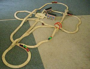 Brio (company) - A BRIO train track, with BRIO trains.