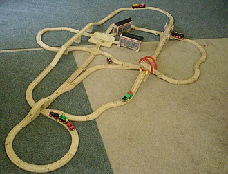 Brio (company) - A BRIO train track, with wooden trains
