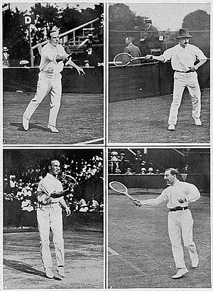 1914 International Lawn Tennis Challenge - The British 1914 Davis Cup team consisting of H. Roper Barrett (top left), Algernon Kingscote (top right), James Cecil Parke (bottom left) and Theodore Mavrogordato (bottom right).