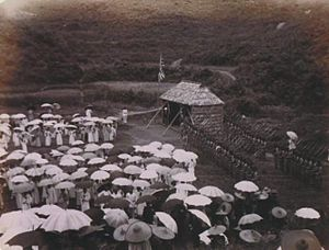 New Territories - The British ceremony in Tai Po, 1899, assuming control of the New Territories