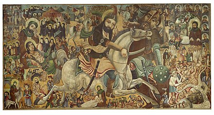 The painting commemorating the death of Imam Husayn at the Battle of Karbala, though its focus is his half brother Abbas ibn Ali on a white horse Brooklyn Museum - Battle of Karbala - Abbas Al-Musavi - overall.jpg