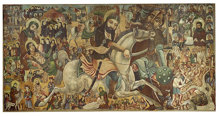 19845a41d1cd1 لوحة لمعركة كربلاء معروضة في متحف بروكلين.
