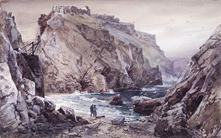 Seascape with Two Figures: Tintagel, Cornwall, England