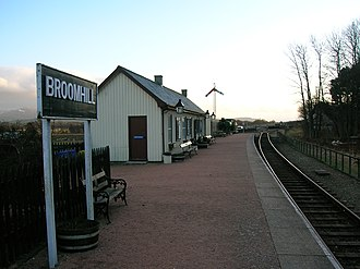 Inverness and Perth Junction Railway - A view of the Broomhill platform and station buildings looking towards Boat of Garten.