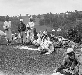 Salah - Bosniaks praying in an open field, ca. 1906
