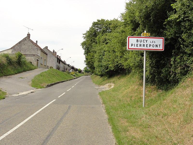 Bucy-lès-Pierrepont (Aisne) city limit sign