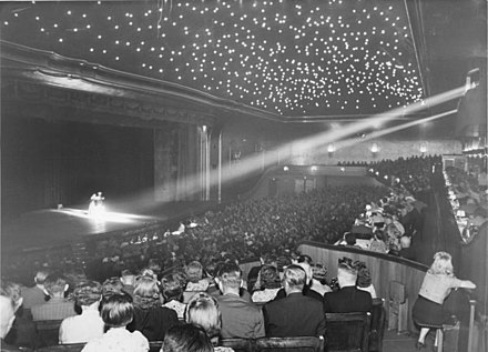 The Berlin Wintergarten theatre was the site of the first cinema ever, with a short film presented by the Skladanowsky brothers on 1 November 1895. (Pictured here is a variety show at the theater in July 1940.) Bundesarchiv Bild 146-1988-035-15, Berlin, Wintergarten.jpg