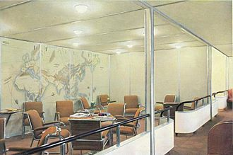 LZ 129 Hindenburg - Lounge, with the world map painted on the wall