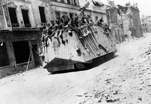 Mechanized infantry - 21 March 1918: German A7V tanks in Roye, Somme during the 1918 Battle of France.