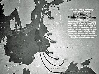 New Order (Nazism) - A German map produced after the defeat of Poland in 1939 calling for German-descendant settlers in eastern Europe to return to the Warthegau