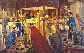 Reading Abbey - Burial of Henry I at Reading Abbey in 1136 painted by Harry Morley (1916)
